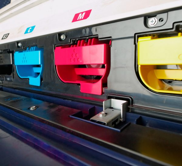 modern digital printing press, concept, closeup of the toner cartriges